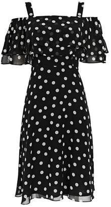Wallis Petite Black Polka Dot Bardot Fit and Flare Dress