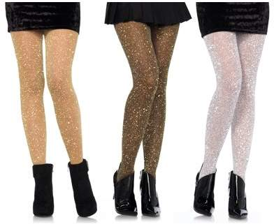 Women's Lurex Sparkly Shiny Glitter Footed Tights, 3 Pairs, Assorted