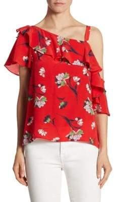 Nanette Lepore Hazy Days Silk One-Shoulder Top