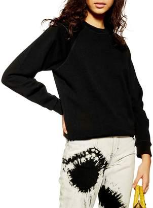 Topshop Classic-Fit Flatlock Raglan Sweatshirt