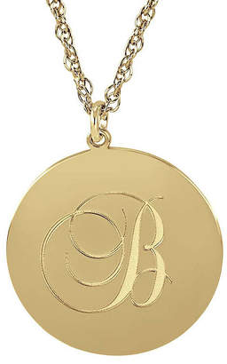 JCPenney FINE JEWELRY Personalized 14K Gold Over Silver Initial Round Pendant Necklace