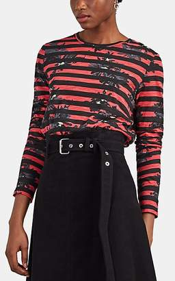 Proenza Schouler Women's Splattered-Floral Striped Cotton Long-Sleeve T-Shirt - Red Pat.