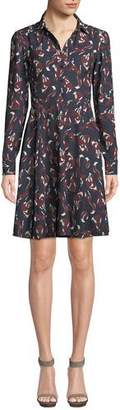 Kate Spade Foxes Smocked Long-Sleeve Shirt Dress