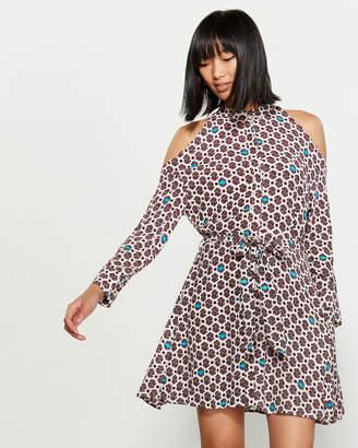 Maje Printed Sateen Cold Shoulder Dress