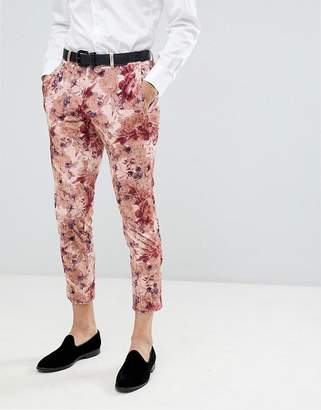 Moss Bros Skinny Suit Pants In Floral Crushed Velvet