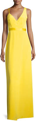 Diane von Furstenberg Asymmetric Sleeveless Side-Slit Gown, Yellow
