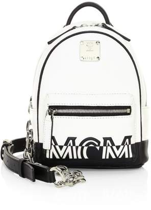 MCM Mini Logo Crossbody Leather Backpack