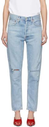 A Gold E Agolde Blue Jamie Hi Rise Classic Jeans