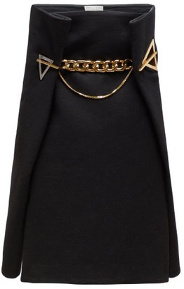 Bottega Veneta Geometric Eyelet Cashmere Twill A Line Skirt - Womens - Black Gold