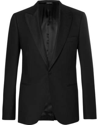 Alexander McQueen Black Slim-Fit Wool-Blend Tuxedo Jacket