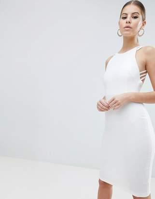 Vesper strappy back midi dress in white