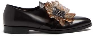 Rupert Sanderson Rosebud feather-embellished buckle leather flats