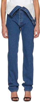 Y/Project Navy Long Crotch Jeans