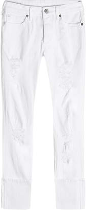 True Religion Distressed Cropped Jeans