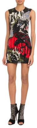 Balmain Sleeveless Graffiti-Embellished Mini Cocktail Dress