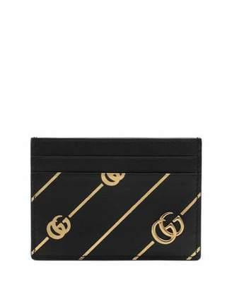051a2a777d9 Gucci GG Diagonal-Stripe Leather Card Case