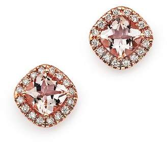 Bloomingdale's Morganite Cushion Cut and Diamond Stud Earrings in 14K Rose Gold - 100% Exclusive