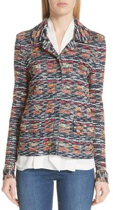 St. John Painterly Multi Tweed Knit Jacket