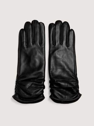 Black Leather Gloves with Side Shirring - Addition Elle