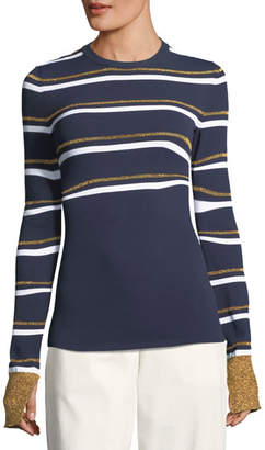 Cédric Charlier Metallic Stripe Crewneck Sweater