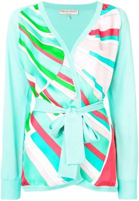Emilio Pucci Shell Print Belted Cardigan