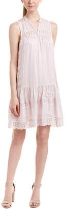 Rebecca Taylor Lace-Trim Silk Shift Dress