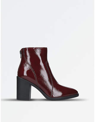 Kurt Geiger Ladies Red Comfortable Sly Patent Leather Ankle Boots