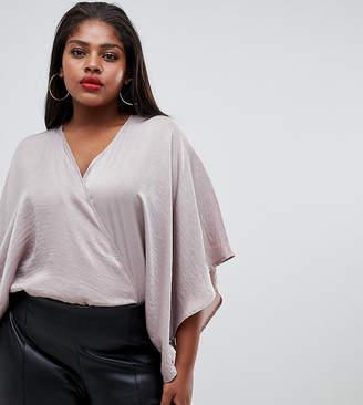 Flounce London Plus Wrap Front Kimono Top