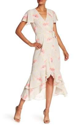 Rachel Roy Printed Wrap Midi Dress