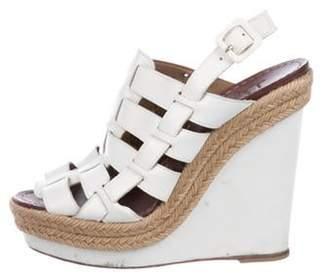 Christian Louboutin Metallic Leather Wedge Sandals Metallic Leather Wedge Sandals