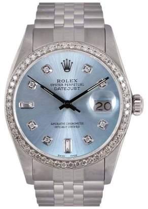 Rolex Datejust Stainless Steel Ice Blue Diamond Dial & Diamond Bezel 36mm Mens Watch