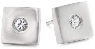 "Rotenier Disc and Square"" Sterling Square with Sapphires Studs"