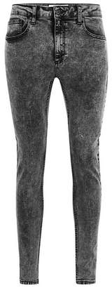 Topman Mens Grey Acid Wash Spray On Jeans
