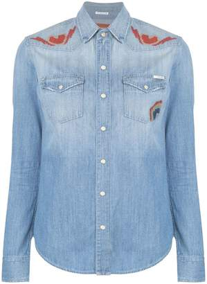 Mother embroidered detail shirt