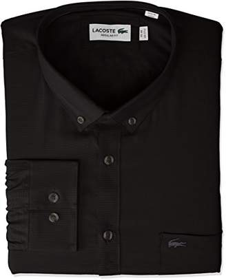 Lacoste Men's Long Sleeve Pocket Mini Pique Regular Fit Woven Shirt