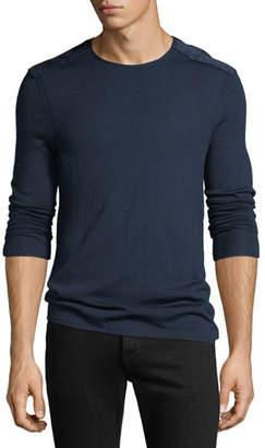 John Varvatos Men's Velvet-Shoulders Wool Sweater