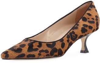 Manolo Blahnik Srila Leopard-Print Fur Low-Heel Pumps