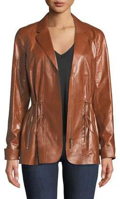 Lafayette 148 New York Porsha Lacquered Lamb Leather Jacket
