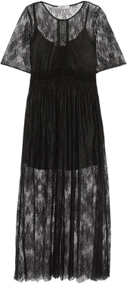 Sandro Pointelle-trimmed chantilly lace midi dress $625 thestylecure.com