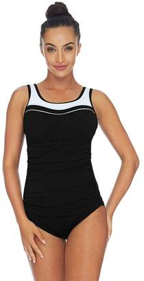Poolproof Ruched Scoop Neck One Piece