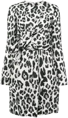 Carolina Herrera leopard print wrap front dress