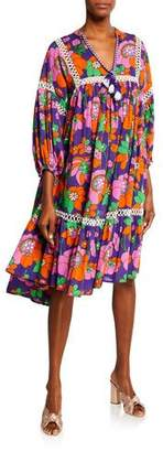 Nell Dodo Bar Or Pleated Floral Poplin Midi Dress