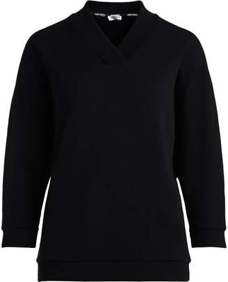 Kenzo Black Cotton Fleece With Maxy Embroidered Logo.