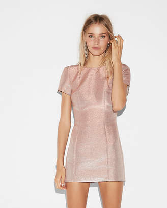 Express Metallic Short Sleeve Mini Sheath Dress