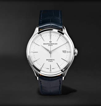 Baume & Mercier Clifton Baumatic Automatic 40mm Stainless Steel and Alligator Watch - Men - White