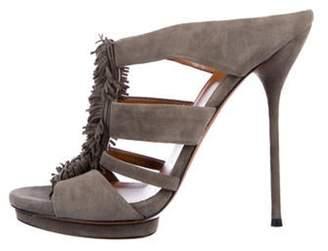 Gucci Fringe Slide Sandals Grey Fringe Slide Sandals