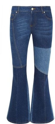 Alexander McQueen Patchwork Cropped Mid-Rise Flared Jeans