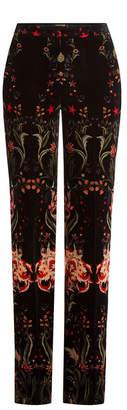 Roberto Cavalli Printed Velvet Wide Leg Pants