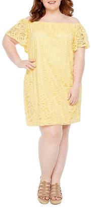 Tiana B Short Sleeve Lace Shift Dress - Plus