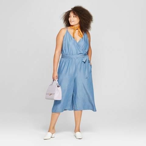 A New Women's Plus Size Tencel Wrap Front Jumpsuit - A New Blue